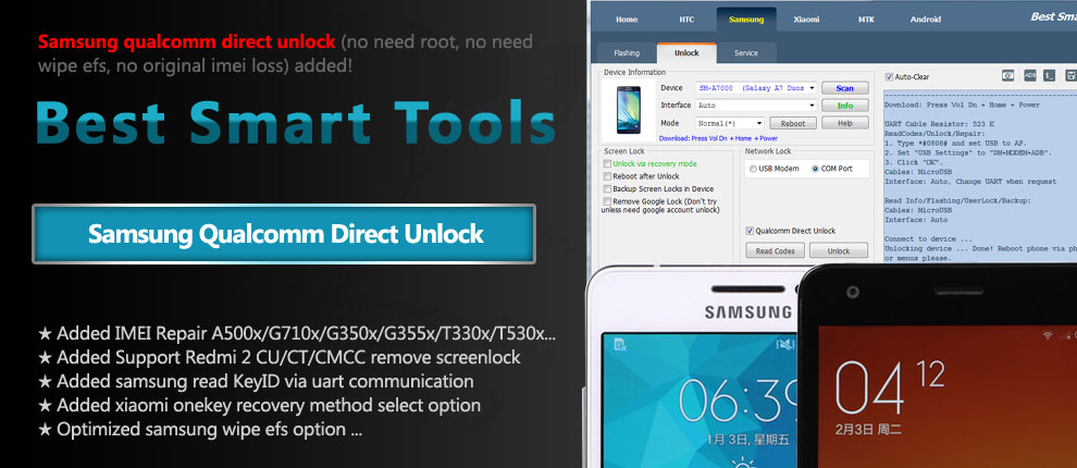 Samsung Qualcomm Direct Unlock (imei not change)